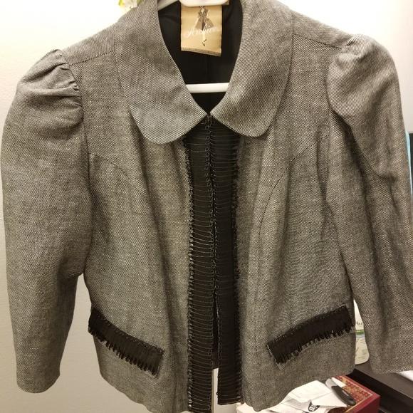 Elegant black/white jacket w/black safety pins